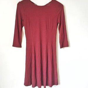 Burgundy Three Quarter Sleeve Dress